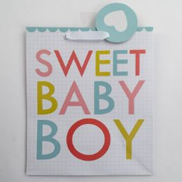 60 Units of Gift Bag Cub Embellished Sweet Baby Boy - Gift Bags Everyday