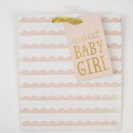 60 Units of Gift Bag Cub Embellished Sweet Baby Girl - Gift Bags Everyday