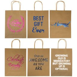 36 Units of Gift Bag Kraft Paper With Hotstamp - Gift Bags Everyday
