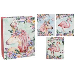 36 Units of Gift Bag Large Unicorn Flamingo Assorted Print - Gift Bags Everyday