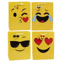 36 Units of Gift Bag Lg Emoticon Assorted - Gift Bags Everyday