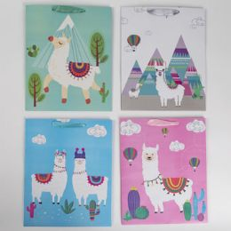 36 Units of Gift Bag Paper Assorted Llama Large - Gift Bags Everyday