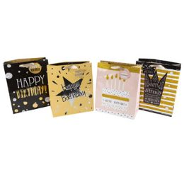 48 Units of Gift Bag Paper Birthday With Glitter - Gift Bags Everyday