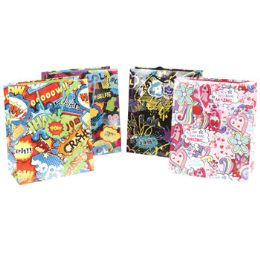 48 Units of Gift Bag Paper Comic Book Dialog Print - Gift Bags Everyday