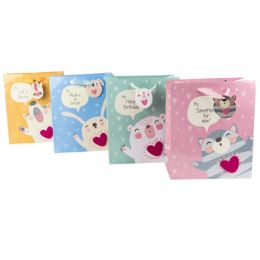 48 Units of Gift Bag Paper Felt Heart toon Animals Satin Handle - Gift Bags Everyday