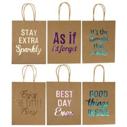 36 Units of Gift Bag Paper Kraft Medium Hotstamp - Gift Bags Everyday