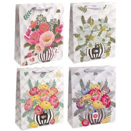 36 Units of Gift Bag Paper Large Floral - Gift Bags Everyday
