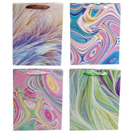 36 Units of Gift Bag Paper Large Marble Swirl - Gift Bags Everyday