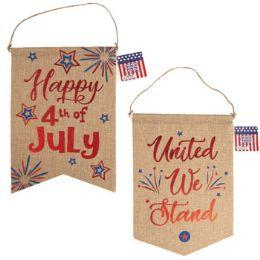 36 Units of Banner Patriotic Faux Burlap With Hotstamp Print - Seasonal Items