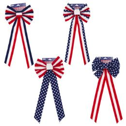 48 Units of Bow Patriotic Velvet - Seasonal Items