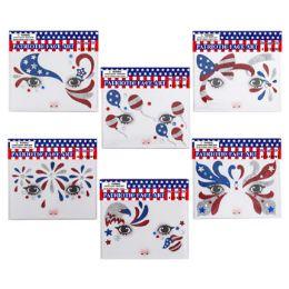 48 Units of Face Art Sequin Decor Patriotic - Seasonal Items