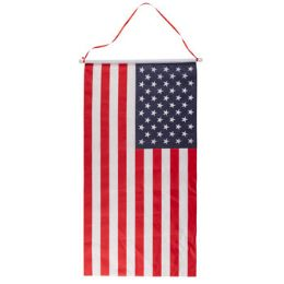 36 Units of Flag Banner On Dowel With Hanging Ribbon - Seasonal Items