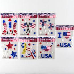96 Units of Gel Stickers Patriotic - Seasonal Items