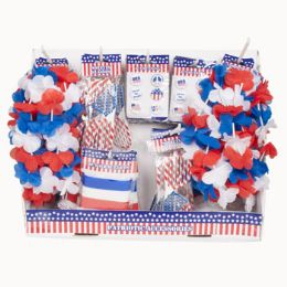 48 Units of Patriotic Wearable Shipper Assorted Glasses Buttons Rubber Bracelets - Seasonal Items