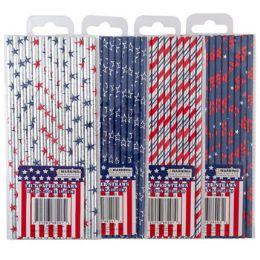 48 Units of Straws Paper Patriotic Hotstamp - Seasonal Items