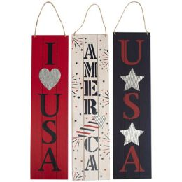 24 Units of Wall Hanging Patriotic Plaque - Seasonal Items