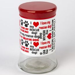 12 Units of Dog Treat Jar Glass I Love My Rescue Dog - Pet Toys