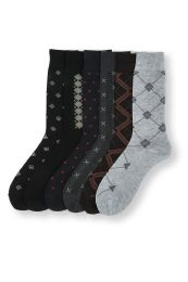 144 Units of Men's Assorted Patterned Dress Socks 10-13 - Mens Dress Sock