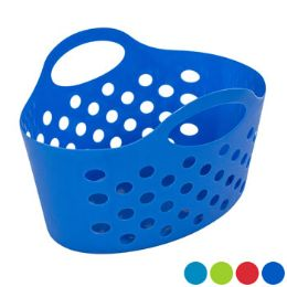 36 Units of Basket Soft Plastic Dual Handle 4 Assorted Colors - Baskets