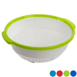 48 Units of Colander 12 Inch White Colored Rim Assorted Color - Strainers & Funnels