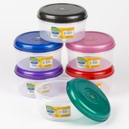 48 Units of Food Storage Container 6 Color Lids With Clear Bottom - Food Storage Containers