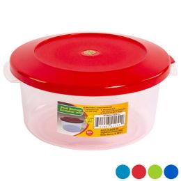 48 Units of Food Storage Container Round 4 Color Lids With Clear Bottom - Food Storage Containers
