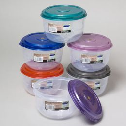 48 Units of Food Storage Container 6 Metallic Lid Colors Clear Bottom - Food Storage Containers