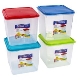 24 Units of Food Storage Container Assorted Color Clear Bottom - Food Storage Containers