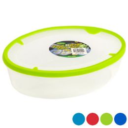 48 Units of Food Storage Container Oval With Rubber Edge On Lid - Food Storage Containers