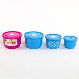 48 Units of Food Storage Container 6 Piece Vented Round Assorted Color - Food Storage Containers