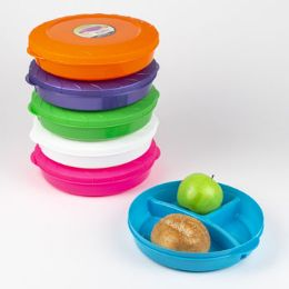 36 Units of Food Storage Container 3 Compartment With Lid Round - Food Storage Containers
