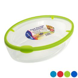48 Units of Food Storage Container Oval 4 Color Rubber Rim On Lid - Food Storage Containers