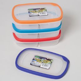48 Units of Food Storage Container Rectangle 2 Section Rubber Rim On Lid - Food Storage Containers