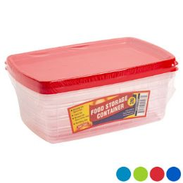 48 Units of Food Storage Container Rectangle 2 Piece 4 Color Lids - Food Storage Containers