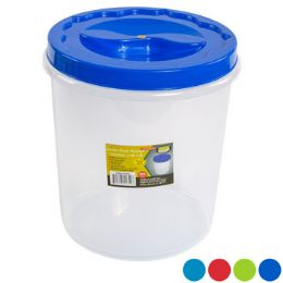 12 Units of Food Storage Container Screw Top 4 Color Lid Clear Bottom - Food Storage Containers