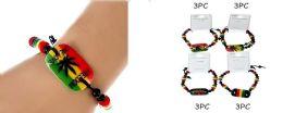 60 Units of Marijuana Bracelet/ Rasta Color - Bracelets
