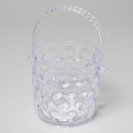 48 Units of Ice Bucket Clear With Folding Handle Crystal Look Bubble Design - Kitchen Gadgets & Tools