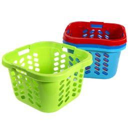 12 Units of Laundry Basket Square With 3 Handles 4 Colors - Laundry Baskets & Hampers