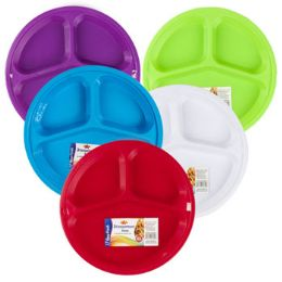 48 Units of Plate 3 Compartment 2 Pack - Plastic Bowls and Plates