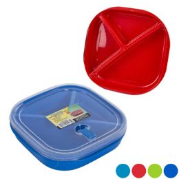 48 Units of Plate Square 3 Section WIth Lid And Microwave Vent - Plastic Bowls and Plates
