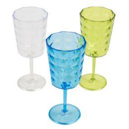 24 Units of Wine Glass Plastic With Diamond Cut Design - Plastic Drinkware