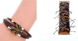 60 Units of Faux Leather Bracelet Marijuana - Bracelets