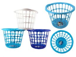 "48 Units of LAUNDRY BASKET 15.5"" DIA X 12""H WHITE, BL,LIGHT BL - Laundry Baskets & Hampers"