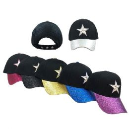 48 Units of Star Ball Cap with Glitter Bill - Baseball Caps & Snap Backs