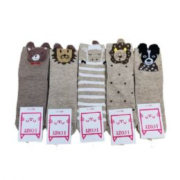 36 Units of Women's Furry Animal Face Ankle Socks - Womens Ankle Sock