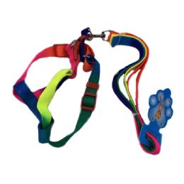 "24 Units of Rainbow Dog Harness with 48"" Leash [Small-Wide] - Pet Collars and Leashes"