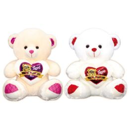 6 Units of Valentine Plush Teddy Bear With Heart Assorted Color - Valentines