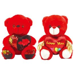 12 Units of Valentine Plush Teddy Bear With Heart And Hat - Valentines