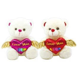 12 Units of Valentine Plush Teddy Bear With Heart And Hat Assorted - Valentines