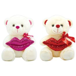 12 Units of Valentine Plush Teddy Bear With Lips Assorted - Valentines